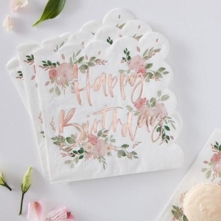 Servietten Happy Birthday mit Blumen 16 Stück