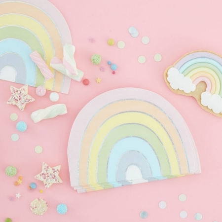 Servietten Pastell Regenbogen, Torte 16 Stück