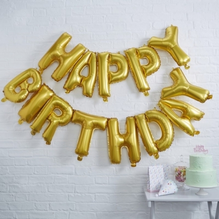 "Ballon-Dekoration ""Happy Birthday"" Kit - Gold"