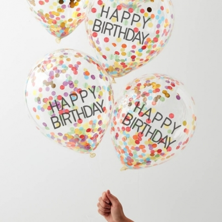 Konfetti Ballons - Happy Birthday Rainbow, 5 Stück