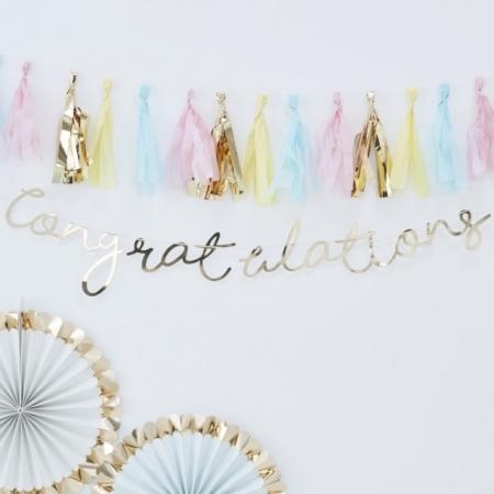 Buchstabengirlande Congratulations Gold
