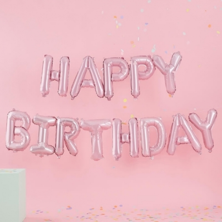 "Ballon-Dekoration ""Happy Birthday"" Kit - Pink-Pastell"