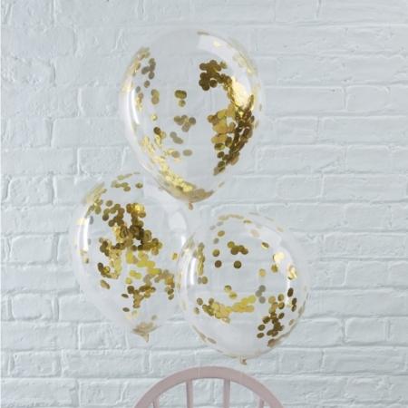 Konfetti Ballons Gold 5 Stück