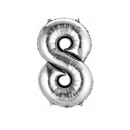 Zahlenballon Zahl 8 Silber heliumgefüllt