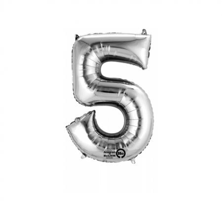 Zahlenballon Zahl 5 Silber heliumgefüllt