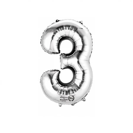 Zahlenballon Zahl 3 Silber heliumgefüllt