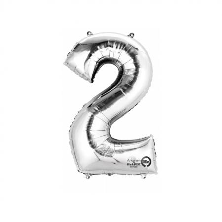 Zahlenballon Zahl 2 Silber XXL 86cm heliumgefüllt