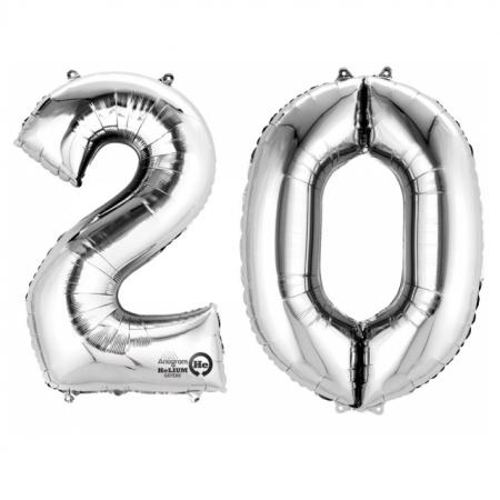 Ballon Zahl 20 Silber XXL 86cm heliumgefüllt