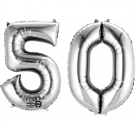 Zahlenballons 50 Silber XXL 86cm heliumgefüllt