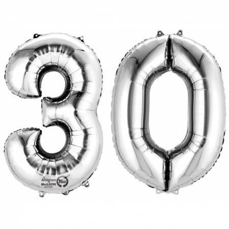 Ballon Zahl 30 Silber XXL 86cm heliumgefüllt