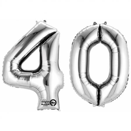 Ballon Zahl 40 Silber XXL 86cm heliumgefüllt