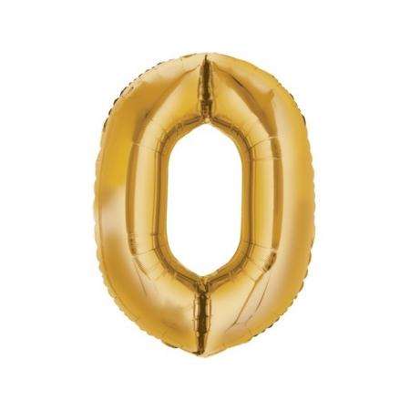Zahlenballon Zahl 0 gold