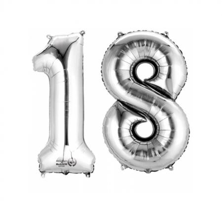 Ballon Zahl 18 Silber XXL 86cm heliumgefüllt