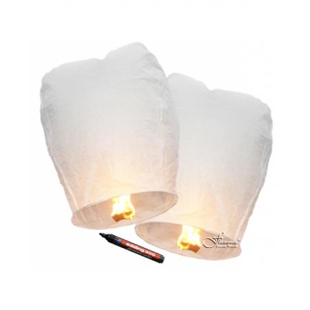 Himmelslaternen Eco Weiss Flammea 2 Stück mit Stift