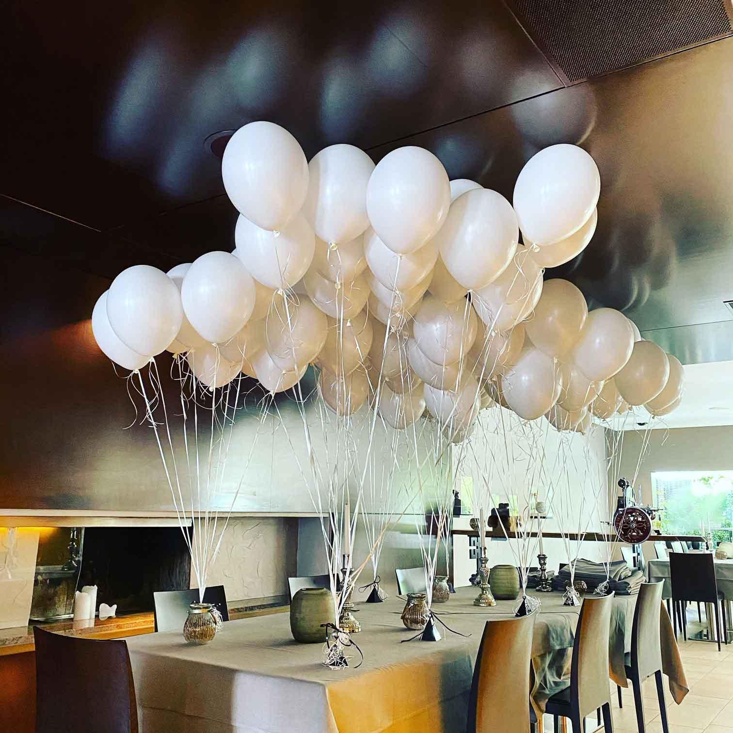 Ballon-Bouquet Weiss 10x10 Stück
