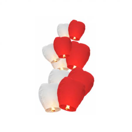 Himmelslaternen Flammea Rot/Weiss 15er Set