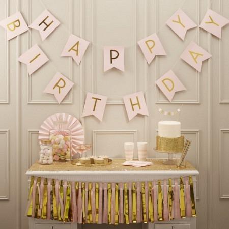 Girlande Happy Birthday rosa von GingerRay