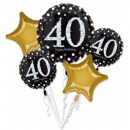 Bouquet de 5 Ballons Jumbo anniversaire 40