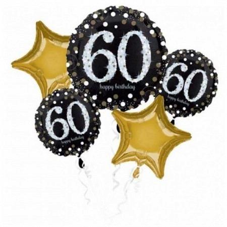 Ballon Bouquet Jumbo zum 60. Geburtstag 5-Ballons