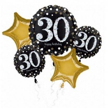 Ballon Bouquet Jumbo zum 30. Geburtstag 5-Ballons
