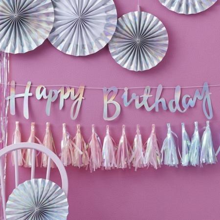 Buchstabengirlande Happy Birthday Irisierend