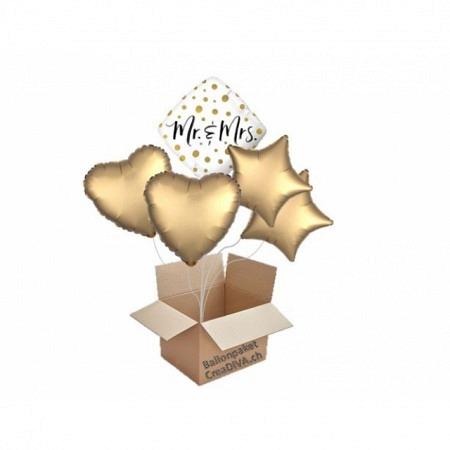 Hochzeit Ballon-Bouquet Quadrat Mr & Mrs 5-Ballons