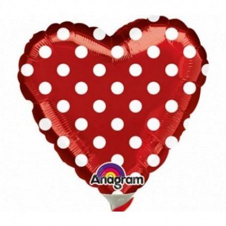 Geschenkballon Herz Dots Rot Mini Luftgefüllt