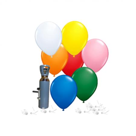 Ballonset mit Öko-Ballons & Helium, Bunt gemischt