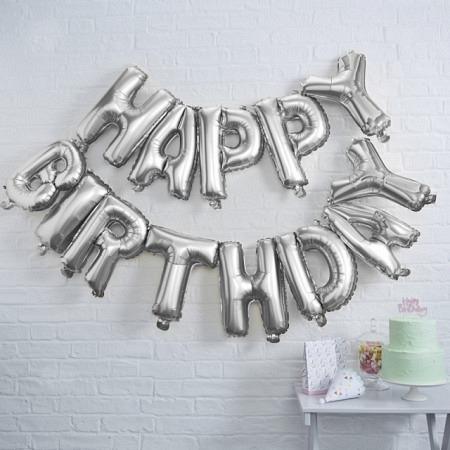 "Ballon-Dekoration ""Happy Birthday"" Kit - Silber"