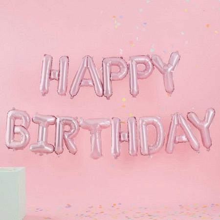 "Ballon-Dekoration ""Happy Birthday"" Kit - Pink-Pastell"