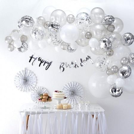 Ballongirlande DIY Silber Ballonbogen