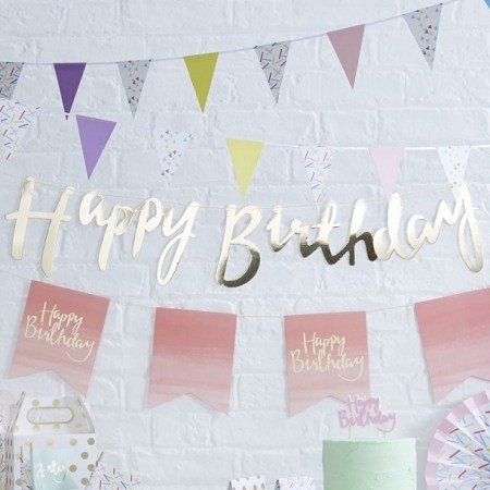 Buchstabengirlande Happy Birthday Gold