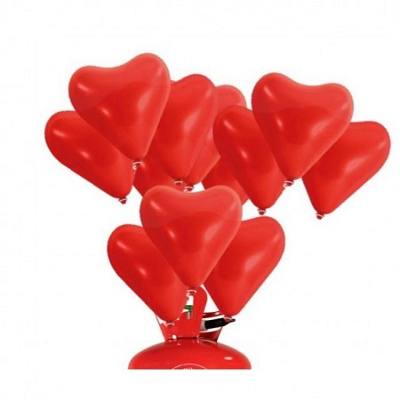 Herzballon-Wettflugset 30 Einweg-Helium, Rot