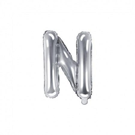 Buchstabe Folienballon N Silber 35-40 cm