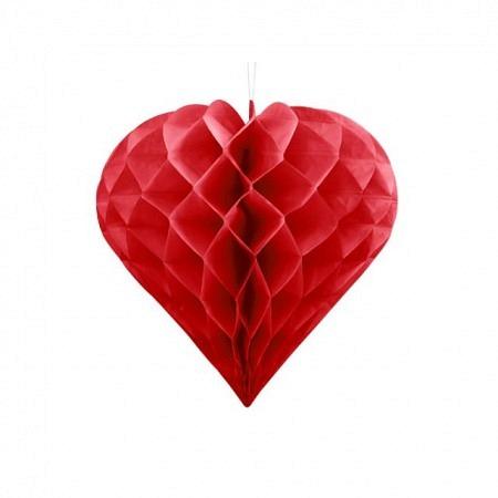 Wabenball Herz Rot 30 cm