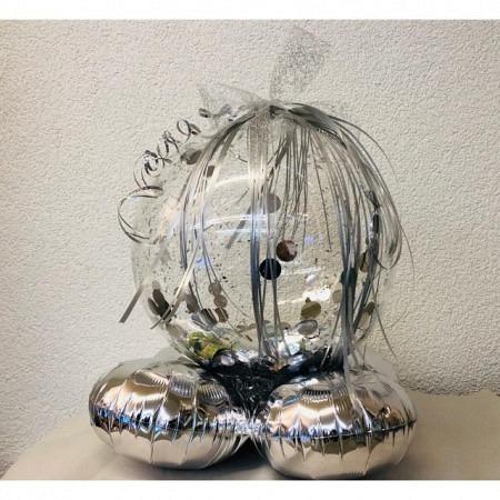 Gefüllter Geschenkballon Silber