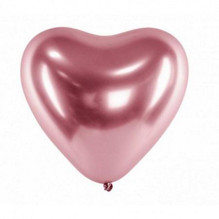 Chrome Herzballons Roségold 30 cm