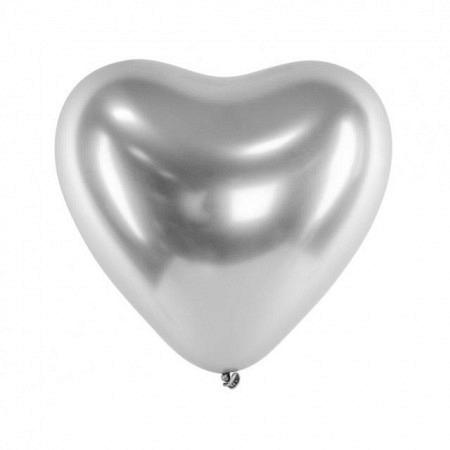 Chrome Herzballons Silber 30 cm