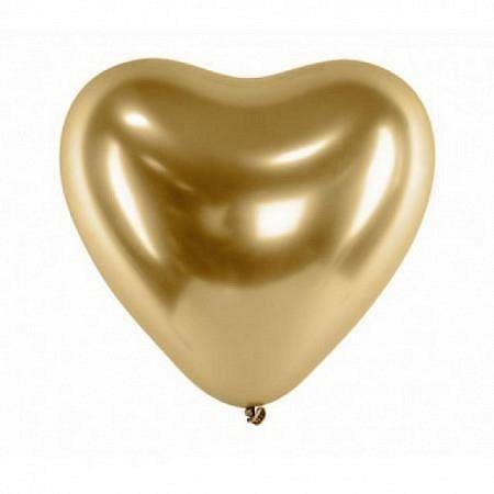 Chrome Herzballons Gold 30 cm