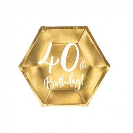 Party Kartonteller 40. Geburtstag 6 Stück