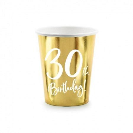 Party Kartonbecher 30. Geburtstag 6 Stück
