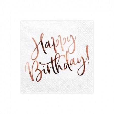 Servietten Happy Birthday Weiss mit Roségold Druck