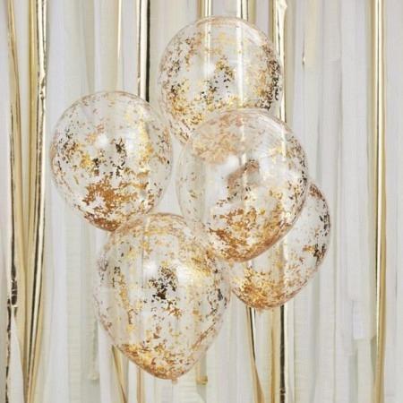 Konfetti Flitter Ballons Gold 5 Stück