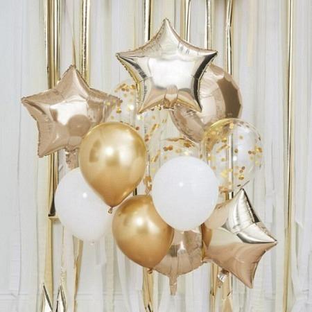 Gold Ballonbouquet DIY - 12 Stück