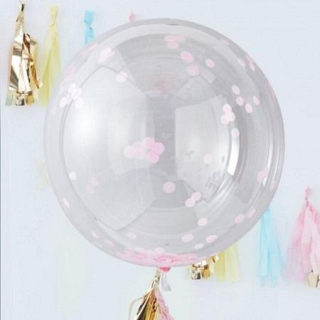 Konfetti Ballons XXL - Pink im 3er Set