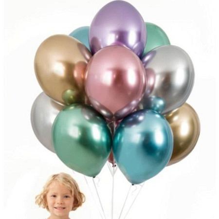 Öko Luftballons mit Helium gefüllt - Chrome Wunschfarbe