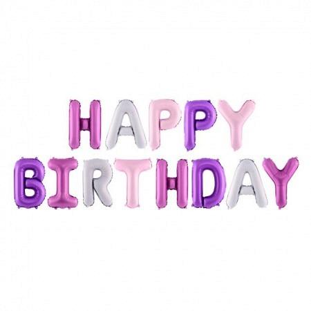 Ballon Buchstabengirlande Happy Birthday Lovely-Mix