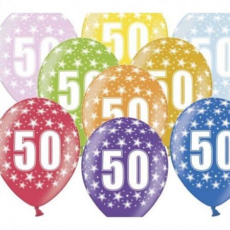 50 Luftballons Metallic-Mix 50. Geburtstag 33 cm