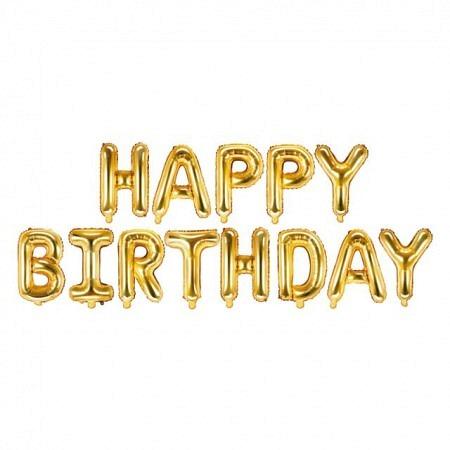 Ballon Buchstabengirlande Happy Birthday Gold 35 cm