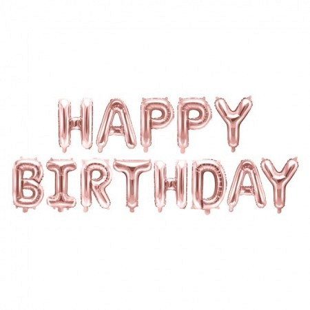 Ballon Buchstabengirlande Happy Birthday Roségold 35 cm